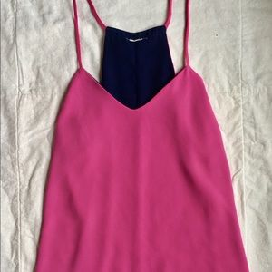 Pink and Navy Racerback Tank Top